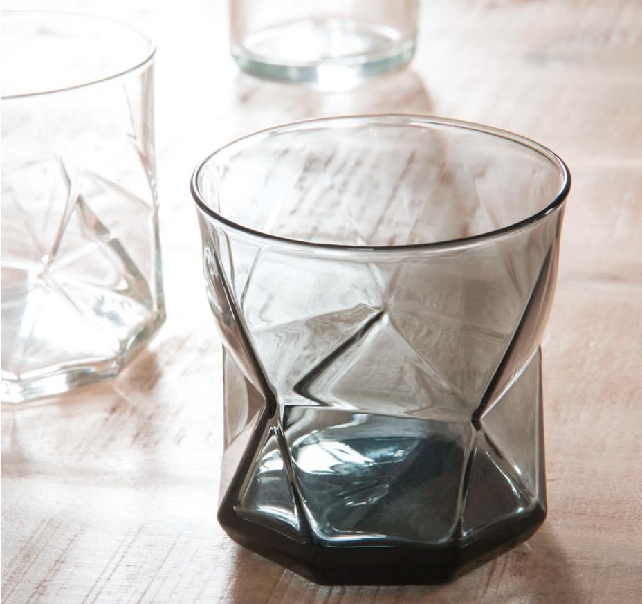 Vaso ancho de cristal gris (lote de 6 piezas)