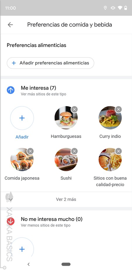 Menu Preferencias