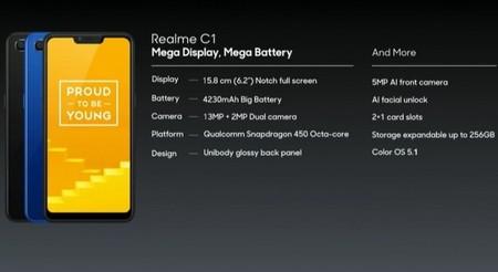 Realme C1: 6,2 pulgadas, Snapdragon 450 y 4.230 mAh de batería por menos de 85 euros