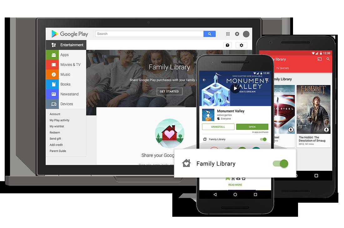 Google Play y su librería familiar para compartir tus compras con tus familiares ya está aquí