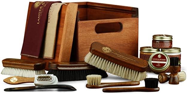 """Langer & Messmer Caja de madera""""FREIBURG"""" en madera de tilo macizo - incluidos artículos de cuidado de zapatos"""