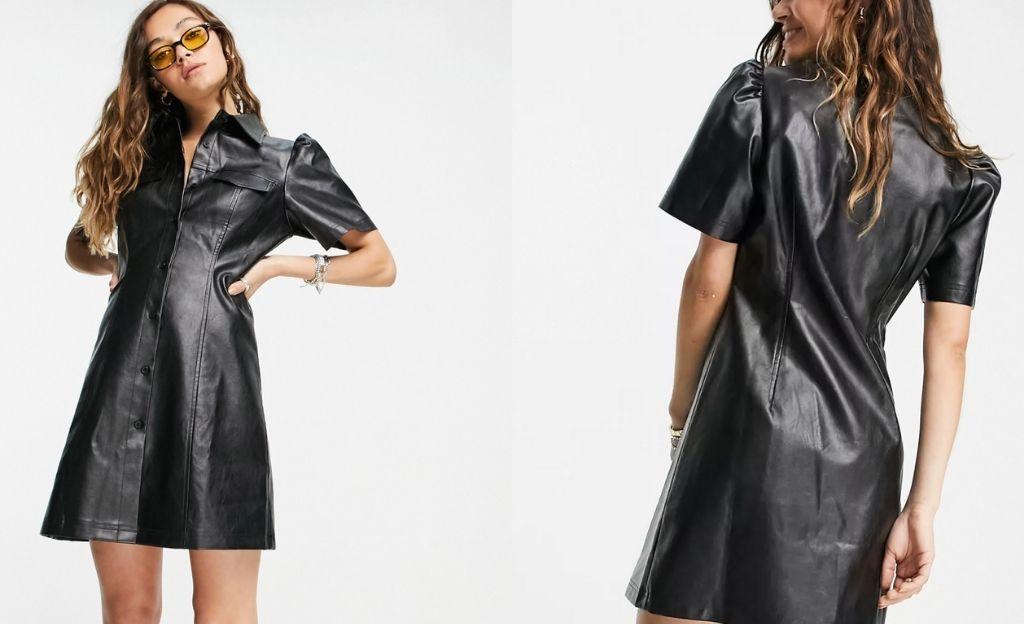 Vestido camisero negro de tejido efecto cuero de Reclaimed Vintage inspired