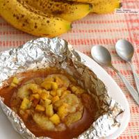 Papillote dulce de plátano, piña y tejocote. Receta