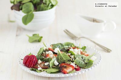 Ensalada de brotes de espinacas y fresas. Receta