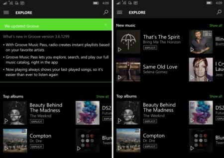 Groove Music y Películas y TV se actualizan en Windows 10 Mobile añadiendo nuevas funciones