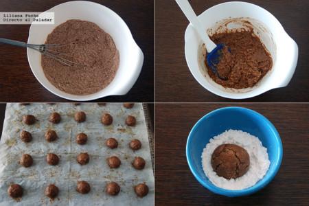 Amaretti de Chocolate. Pasos