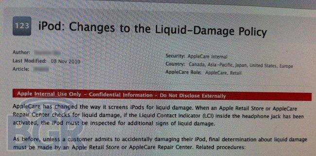 daños por líquidos iPod