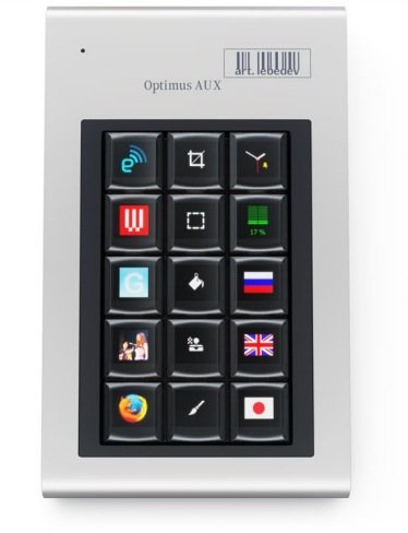 Optimus Aux keyboard, teclado auxiliar con quince teclas OLED