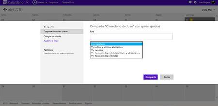 Calendario Microsoft Live, compartir