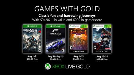 Gears of War 4 y Forza Motorsport 6 entre los juegos de Games With Gold de agosto