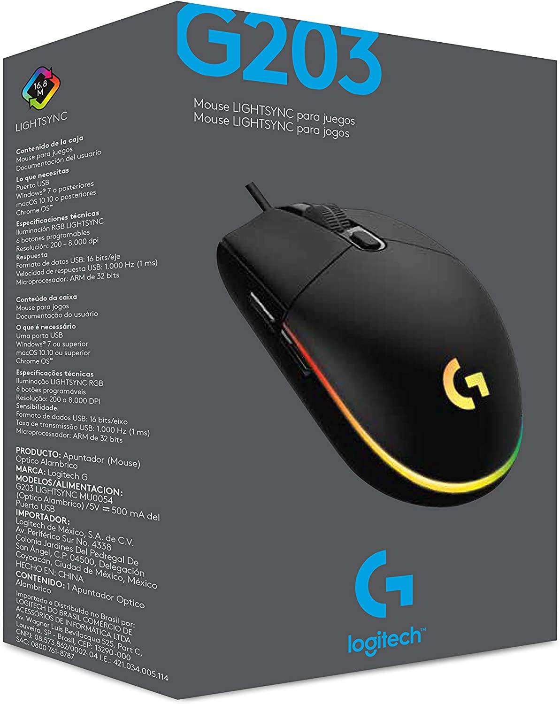Mouse gamer Logitech G203 6,000 PPP