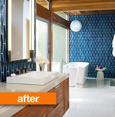 El baño azul después de la reforma