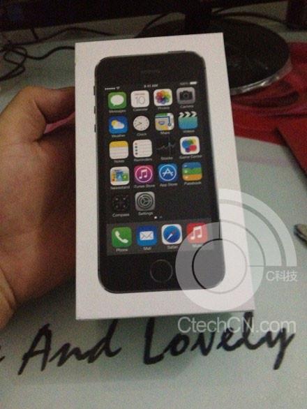 La presunta caja de iPhone 5S: un anillo plateado en el botón de Inicio