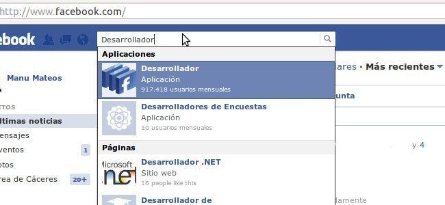 'Desarrollador' en Facebook