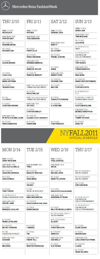 Calendario Semana de la Moda de Nueva York