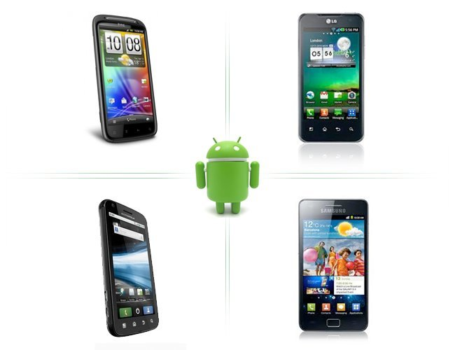 Cuatro teléfonos Android con doble núcleo