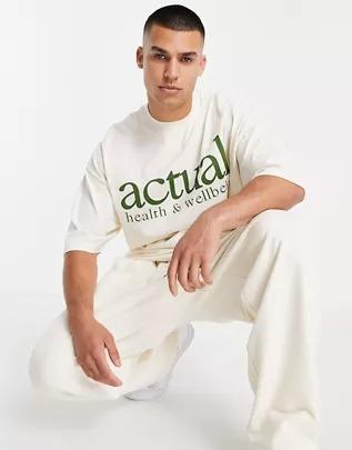 Camiseta color crudo extragrande con logo verde estampado en el pecho de tejido grueso de algodón cepillado de ASOS Actual (parte de un conjunto)