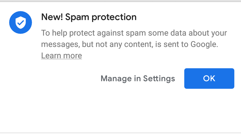 Google Messages begins to activate your spam protection
