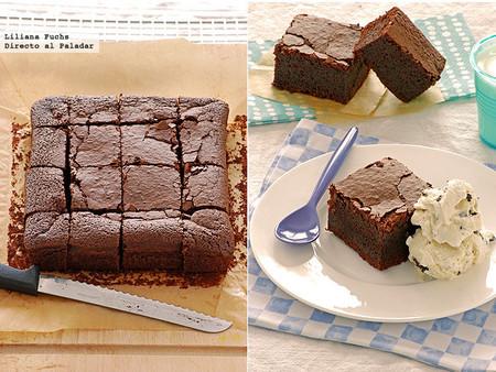 Receta de brownie dos chocolates con cerveza negra, una tentación de postre o merienda
