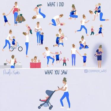 """""""Lo que yo hice, lo que tú viste"""", la ilustración viral que muestra el trabajo invisible de las madres e invita a no juzgar"""