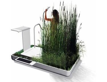 Ducha ecológica con plantas que filtran el agua