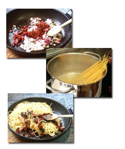 espaguetis tomates secos y albahaca pasos