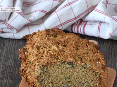 Pan de soda con trigo sarraceno y pipas de calabaza. Receta de pan rapidísimo