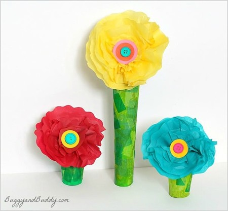 Manualidades Primavera Flores Papel Seda