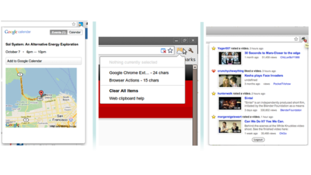 Google lanza extensiones para Chrome de Youtube, Calendar y portapapeles web