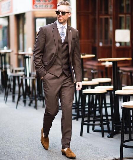 El Mejor Street Style De La Semana Brown Suit Trendencias Hombre 14