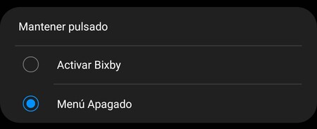 Menú Apagado Samsung Galaxy