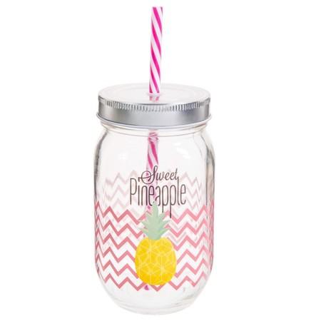 Vaso Con Pajita De Cristal H 14 Cm Pineapple 1000 7 15 159382 2