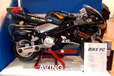 Ordenador en una motocicleta deportiva