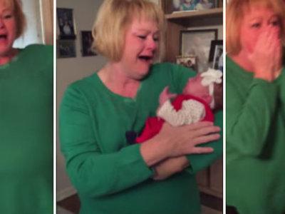 La enorme sorpresa de una abuela al ver a su nieta adoptada por primera vez
