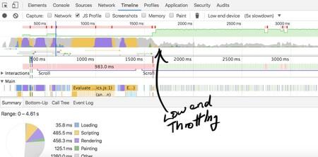 CPU Throttling detectado desde las herramientas de desarrollo de Chrome