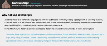 GorillaScript, un lenguaje con posibilidades para los que odian Javascript pero lo necesitan