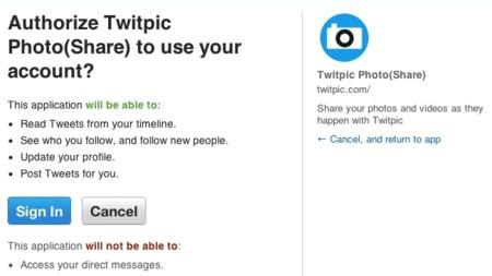 twitpic spam permisos