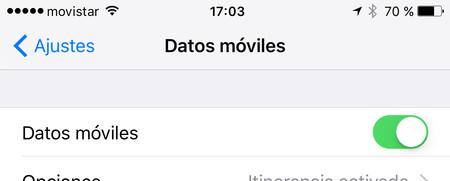 Desconectar los datos en iOS