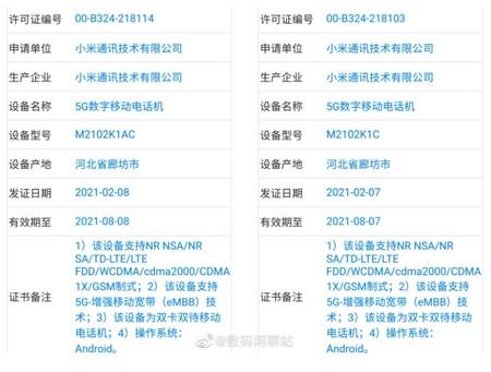 Xiaomi Mi 11 Ultra pasando por la TENAA