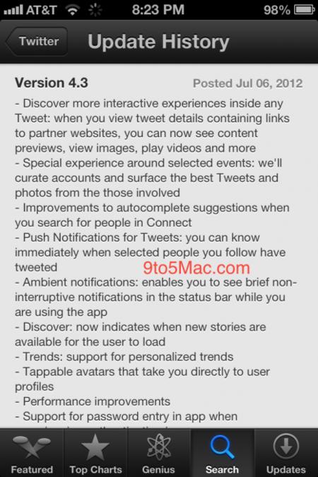 La actualización de Twitter para iPhone podría incluir tweets interactivos y mejoras en las notificaciones