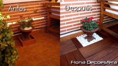 Diario de a bordo instalamos suelo de madera en la terraza for Tarima exterior ikea