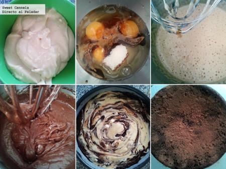 Preparación pastel marmoleado sin harina