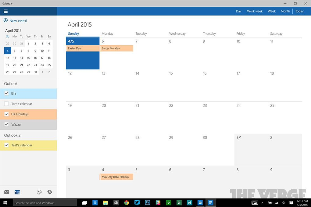 Calendario y Correo en Windows 10