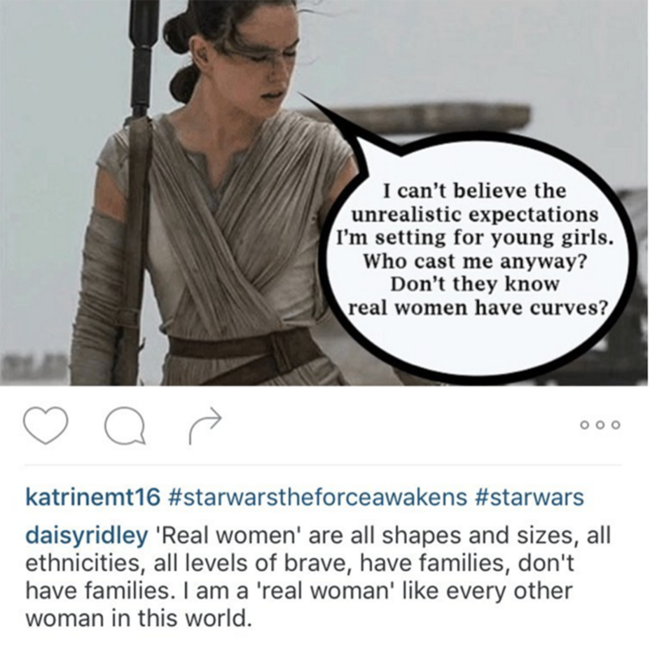 La publicación de Daisy Ridley en Instagram que ha borrado