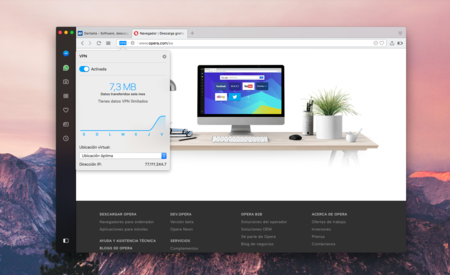 El VPN integrado en Opera ahora es mejor y más rápido, puedes probarlo en la versión developer