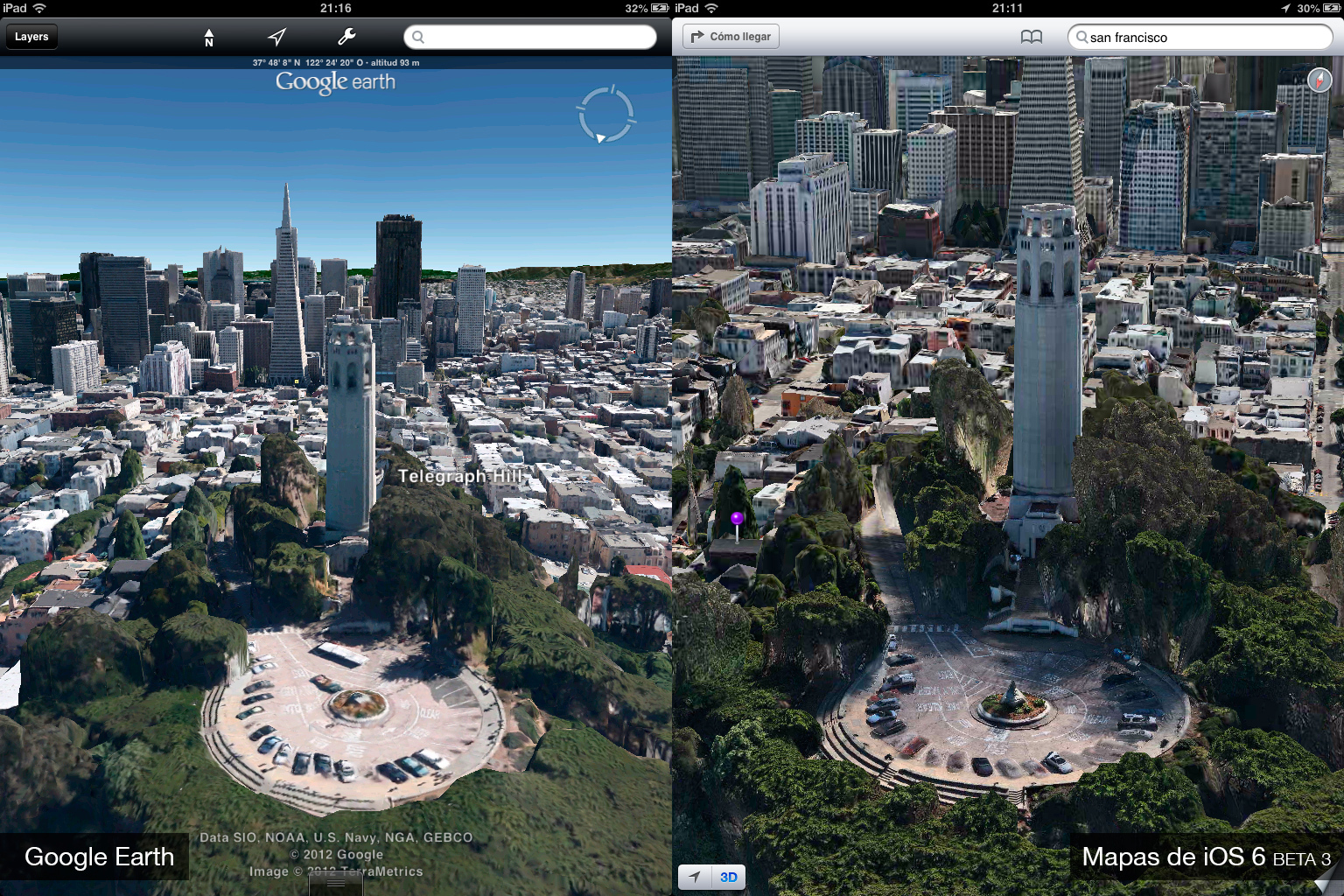 Foto de Google Earth 7.0 contra Mapas de iOS 6 (beta 3) (7/9)