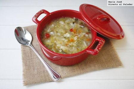 Sopa con verduras. Receta