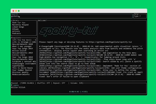 Alguien ha creado un cliente de Spotify para la terminal de Linux, Windows o macOS, y es una maravilla