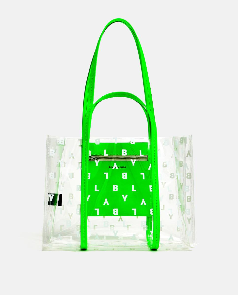 Bolso shopper transparente con logo estampado en verde neón