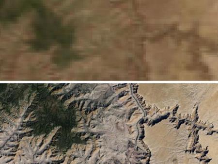 Comparación detalle imágenes MODIS (antiguas) vs Landsat 7